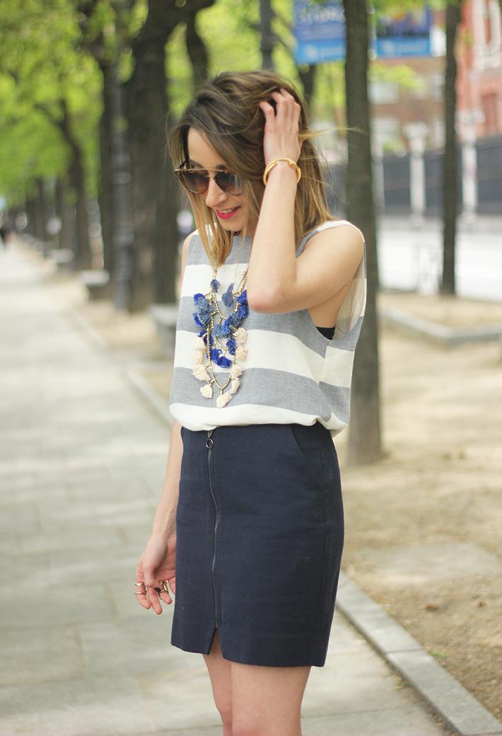 Blue Skirt Striped Top fringed sandals13