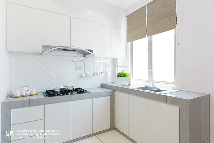 La Garden double storey terrace white color wet kitchen with concrete top in tiles finish in a bright space