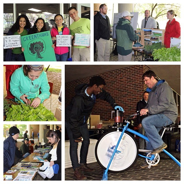 Happy Earth Day! Members of the Wildcat family celebrated today by visiting a showcase of @uksustainability efforts on campus that also included spins on the Wildcat Wheels blender bike & #KyProud samples. #EarthDay