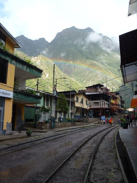 A rainbow appeared for our arrival to Aguas Calientes