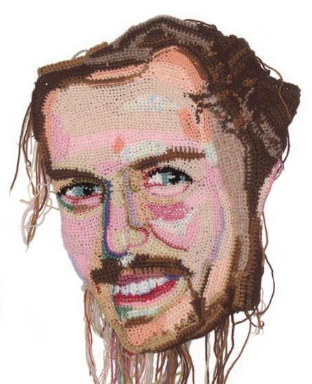 Bryon in progress, crochet portrait by Jo Hamilton | Emma Lamb