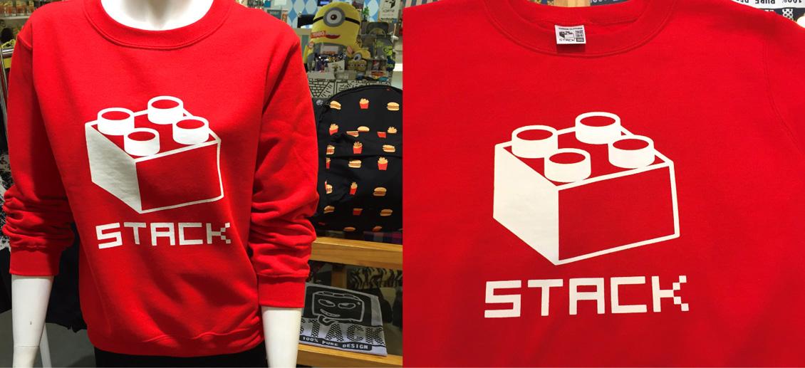 stack-經典積木-刷毛大學t-紅色