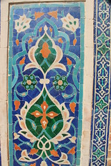 Tilework, Ulug Beg's Madrassa, Registan Square, Samarkand, Uzbekistan