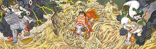 大友克洋《金華童子風神雷神ヲ従エテ波濤ヲ越ユルノ図》紀念版畫