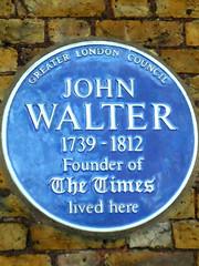 Photo of John Walter blue plaque