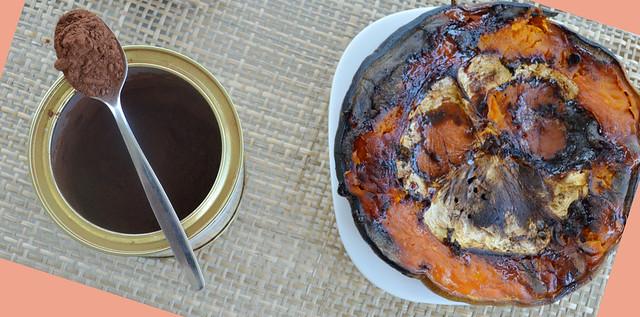 ingredientes para mousse de calabaza y cacao paleo