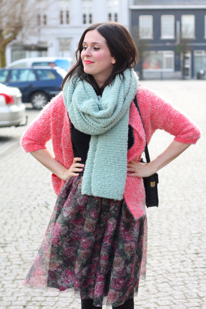 outfit: floral tutu skirt, pink fluffy cardigan, oversized mint scarf