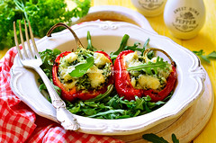 Sweet pepper stuffed with rice,spinach and cheese.