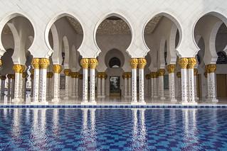 Image of Sheikh Zayed Grand Mosque near Abu Dhabi. muslim uae mosque abudhabi column marble reflectingpool unitedarabemirates ae grandmosque sheikhzayedbinsultanalnahyangrandmosque