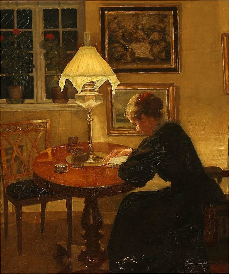 "Niels Holsøe ""Interior with a reading woman"" 1907"