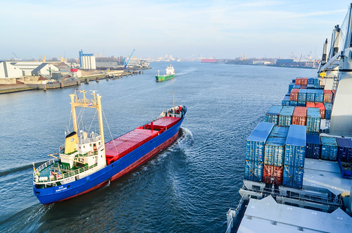 Cargo traffic on Het Scheur, port of Rotterdam