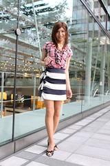 Check ruffle blouse and Marine miniskirt_14