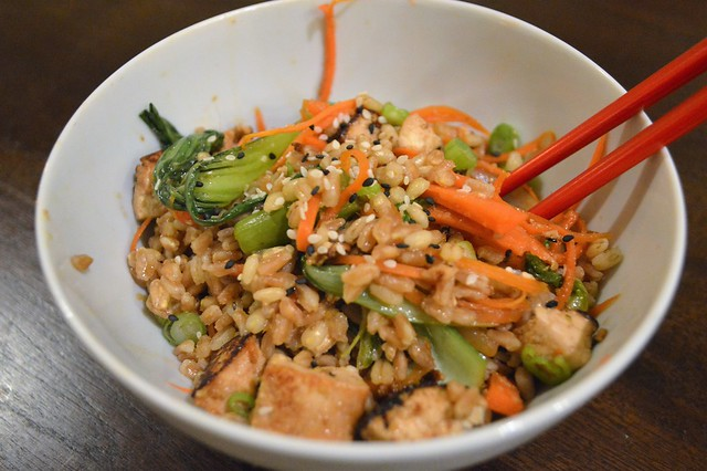 Honey Ginger Tofu and Veggie Stirfry