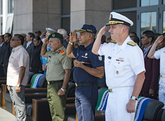 Rear Adm. Charles Williams, commander of Task Force 73, salutes during the Pacific Partnership 2016 opening ceremony at the Timor-Leste Ministry of Defense. (U.S. Navy/MC2 Hank Gettys)