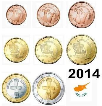 Sada 8 ks euromincí Cyprus 2014