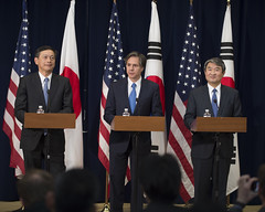 Deputy Secretary of State Tony Blinken holds a press conference with Japanese Vice Foreign Minister Akitaka Saiki and Republic of Korea Vice Foreign Minister Cho Tae-yong following their trilateral meetings at the U.S. Department of State in Washington, D.C., on April 16, 2015. [State Department photo/ Public Domain]