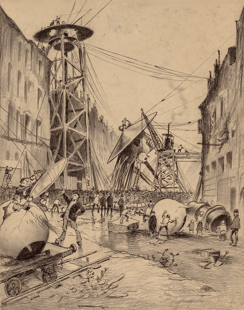 "HENRIQUE ALVIM CORRÊA -Humans Dissecting Martian War Machines, from The War of the Worlds, Belgium edition, 1906 (illustration from Book II - The Earth Under the Martians, Chaper IX - ""Wreckage,"")"