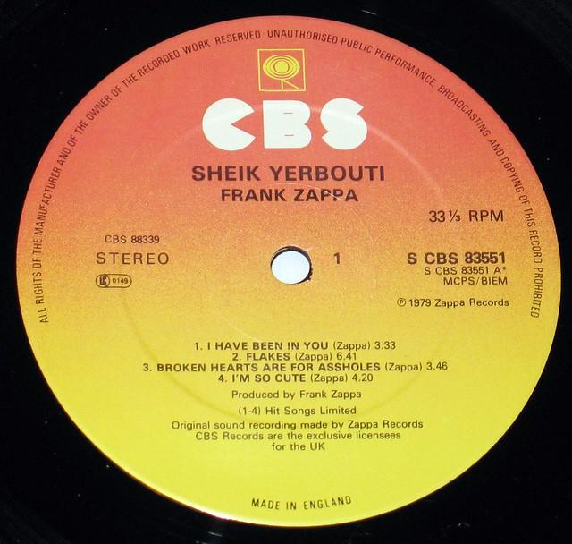 "Frank Zappa - Sheik Yerbouti England 12"" Vinyl LP"