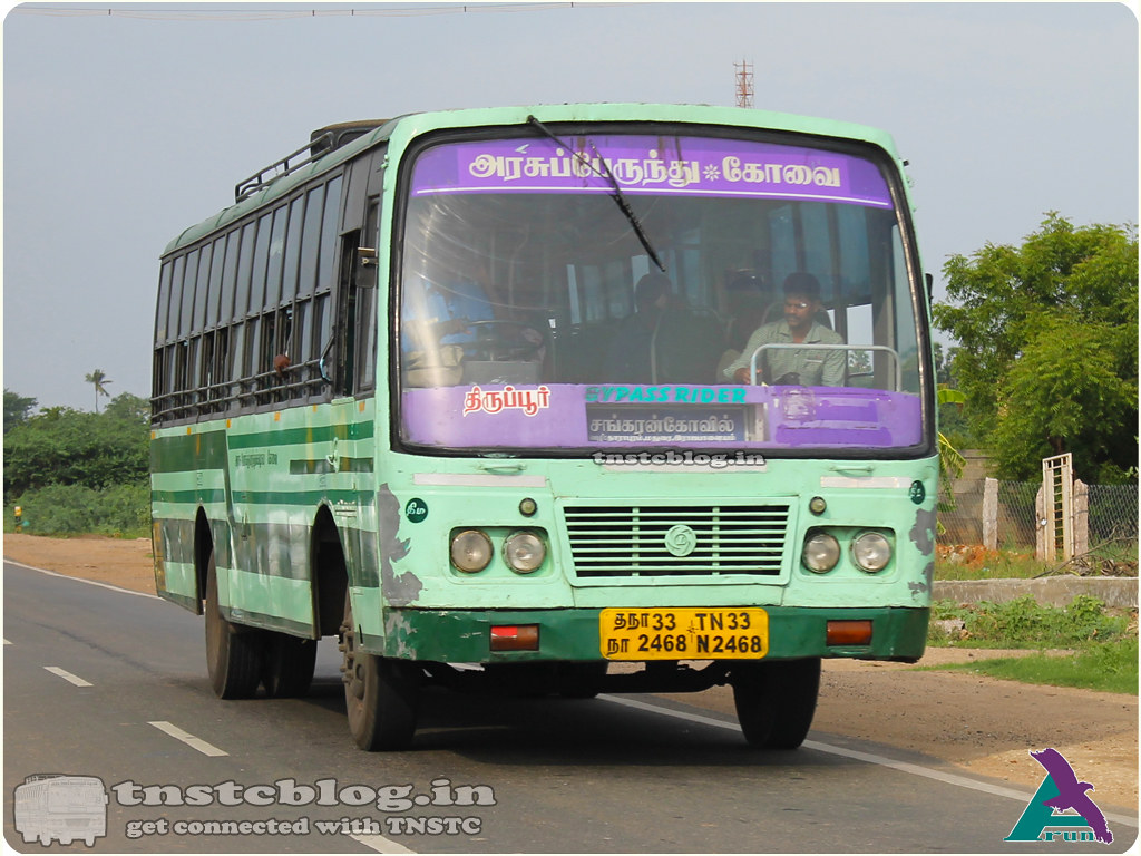 TN-33N-2468 of Tiruppur 2 Depot Route Tiruppur -Sankarankovil via Dharapuram, Ottanchatiram, Madurai, Rajapalayam.