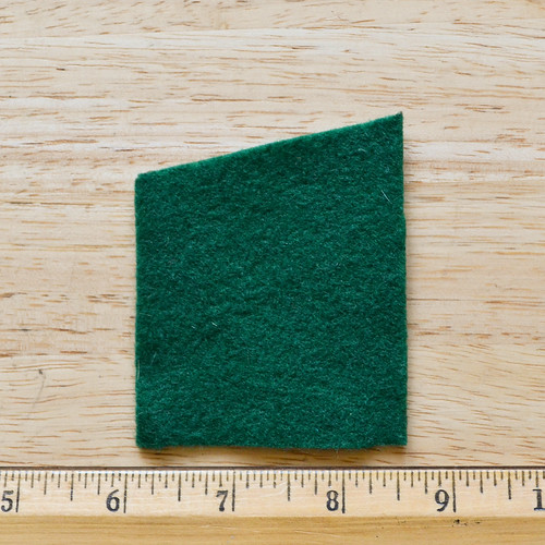 "Step 1: Cut felt rectangle: 2.5"" wide by 3"" tall. This will produce an asparagus stalk that is about 3"" tall, if you want a longer stalk, cut the rectangle taller & add 1/2"" taper"