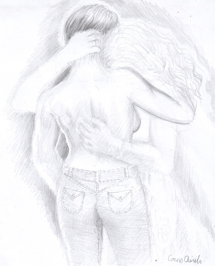 Butch lesbian and her girlfriend pencil drawing