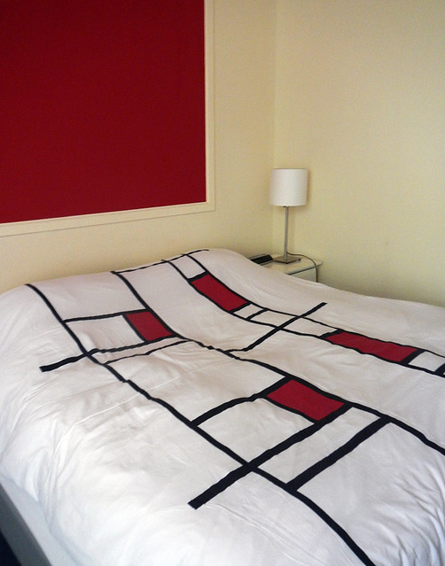 Mondrian-Style Coverlet in a Hotel in Delft, Holland