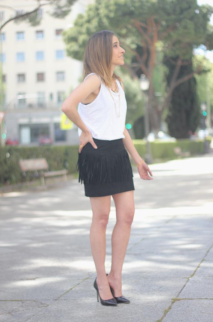 Fringed Black Skirt heels denim jacket03