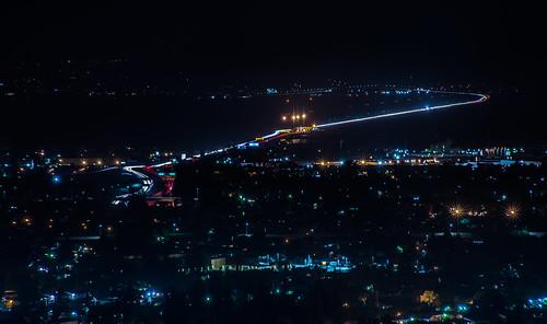 california bridge black color night work dark spring lowlight nikon view traffic over bayarea april eastbay hayward alamedacounty sanmateobridge d800 2015 tollplaza lightstream boury pbo31