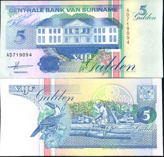 5 Guldenov Surinam 1996-98, Pick 136