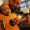 Saturday morning bluegrass. He's getting the hang of it.