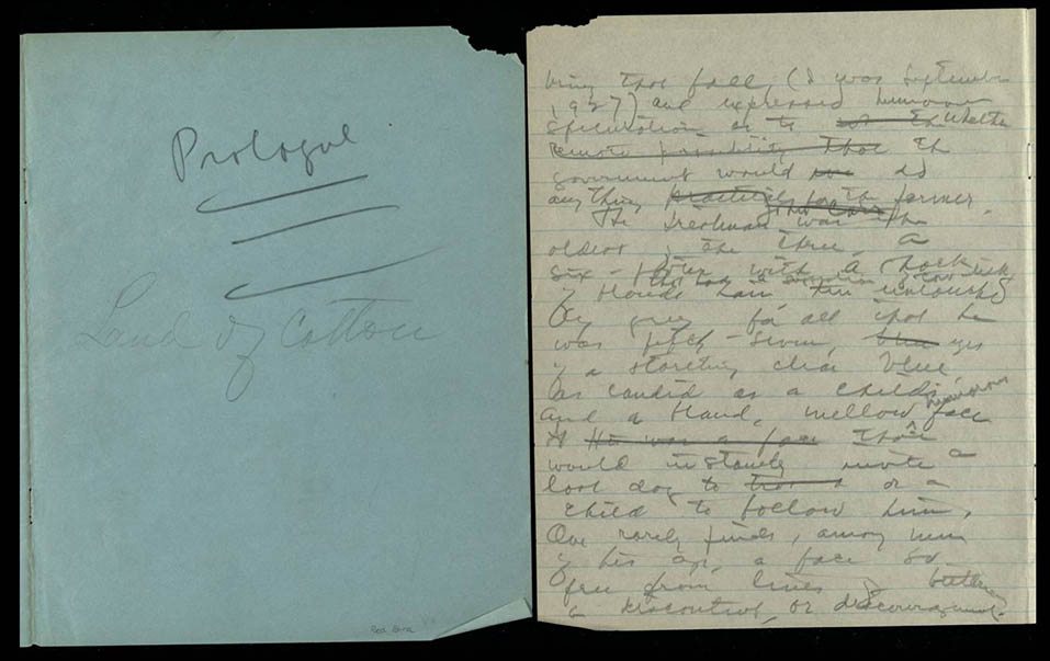 "Manuscript, ""Land of Cotton,"" Dorothy Scarborough, undated"