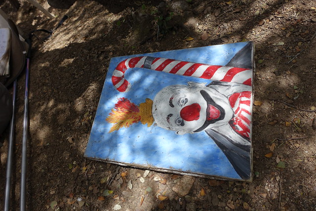 Scary clown at cache
