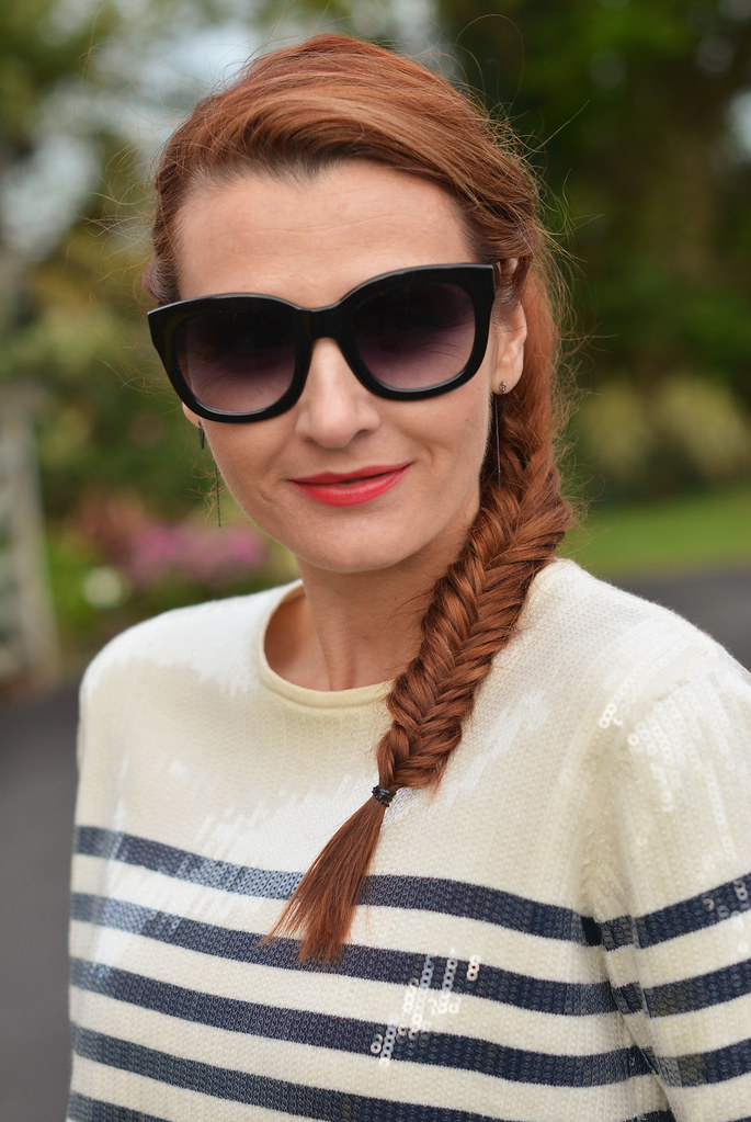 Sequinned Breton striped top, fishtail braid