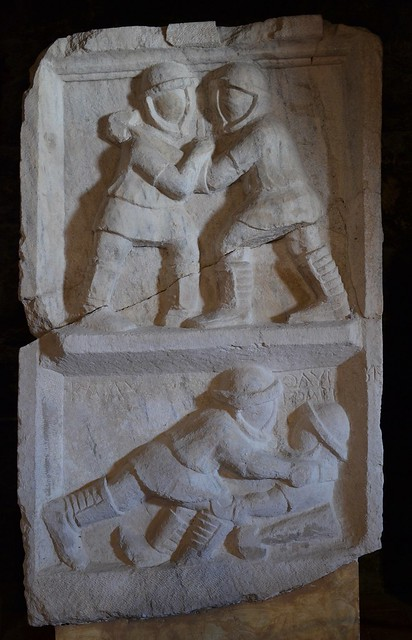 Relief with gladiatorial scenes, beginning of the 3rd century AD, from the Northern Necropolis of Hierapolis, Hierapolis Archaeology Museum, Turkey