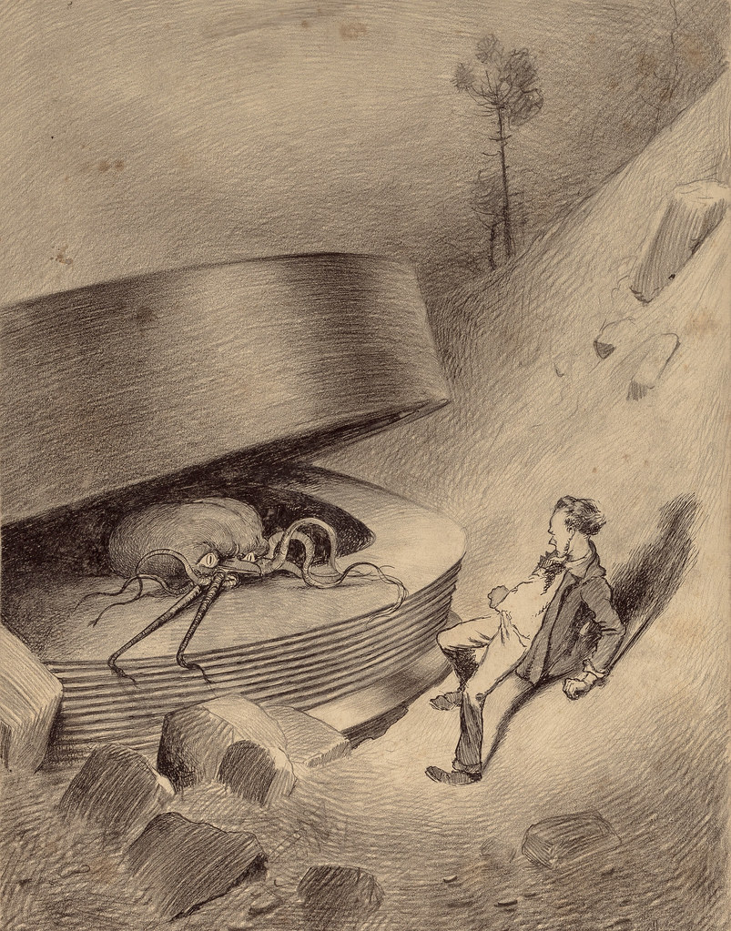 "HENRIQUE ALVIM CORRÊA - Martian Emerges, from The War of the Worlds, Belgium edition, 1906 (illustration is featured in Book I- The Coming of the Martians, Chapter IV- ""The Cylinder Opens,"")"