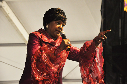 Shirley Caesar and her singers in the Gospel Tent.  Photo by leonastrassbergsteiner.com