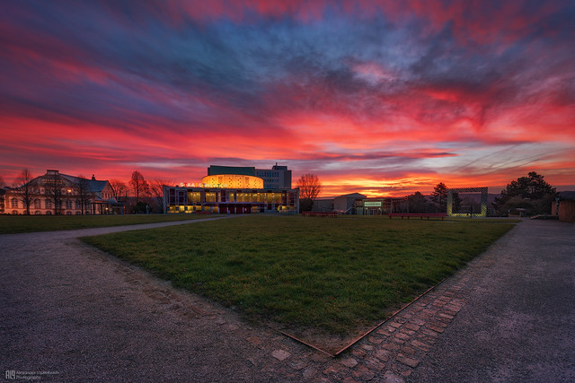 beautiful sunrise over the theater in Kassel