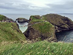 Aforementioned rope bridge & tiny island, covered in tourists #travel #northernireland