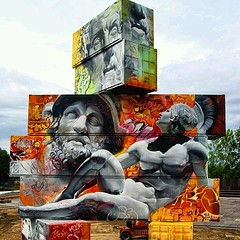 An Architectual Canvas of shipping containers Painted with Greek Gods by Pichi & Avo.  This is located in Belgium..... #nypix #nycdotgram #belgium #graffitiartist #graffiti #graffitiart #graffitiwall #europe #belgiumgraffiti #europeanart #artworkoftheday