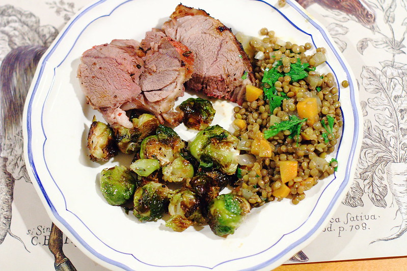 Sunday Dinner: Grilled Lamb, Lentil Salad, and Balsamic Roasted Brussels Sprouts