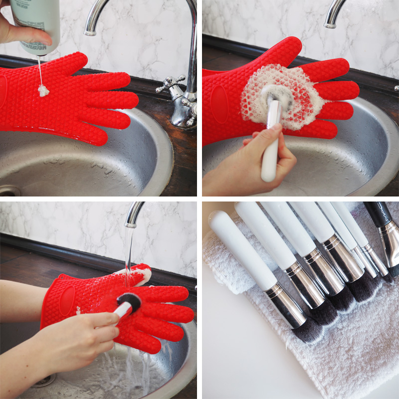 silicone glove cleaning makeup brushes