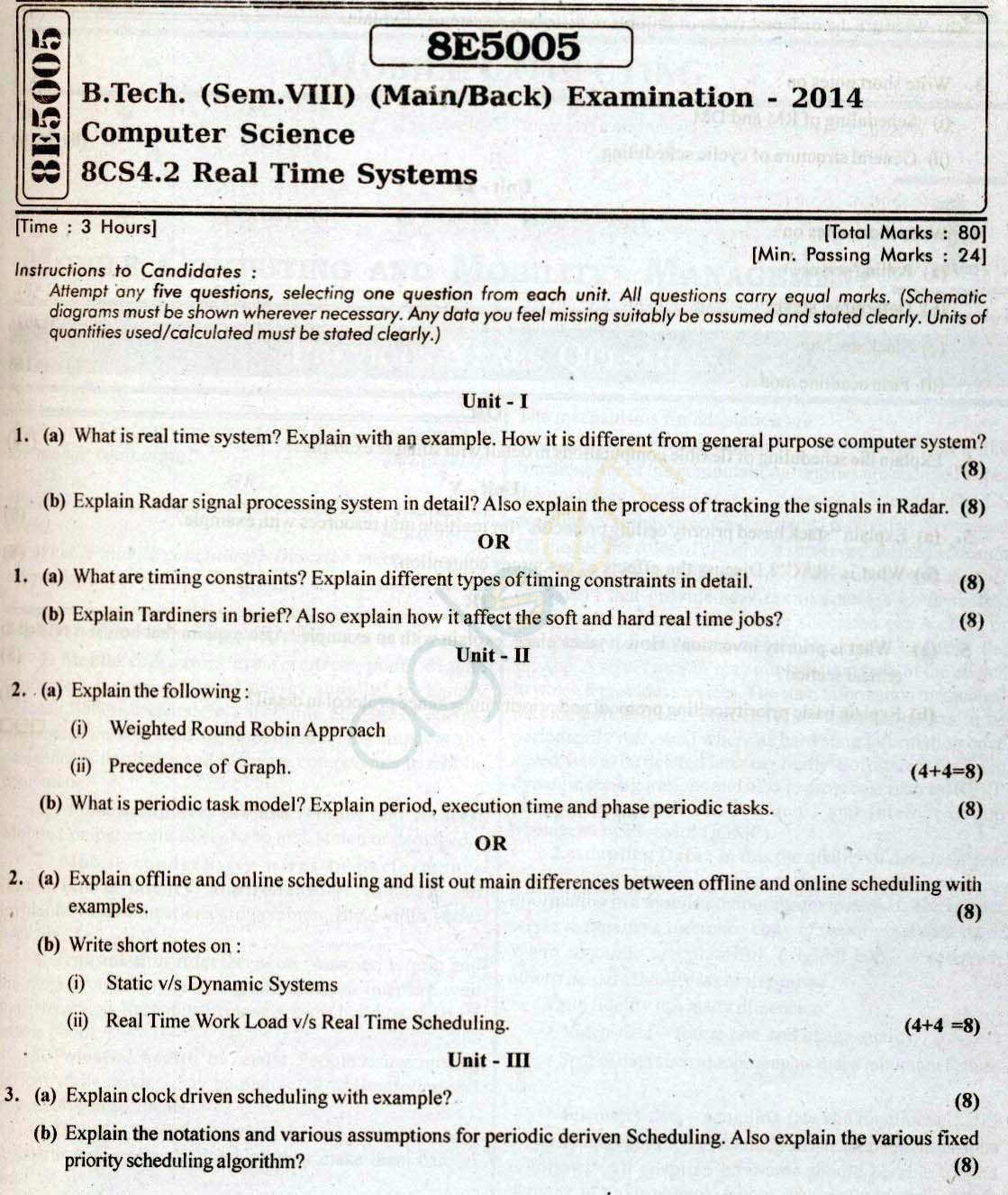 RTU: Question Papers 2014 - 8 Semester - CS - 8E5005