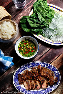 Grilled Pork Neck with Spicy Dipping Sauce and Iced Greens