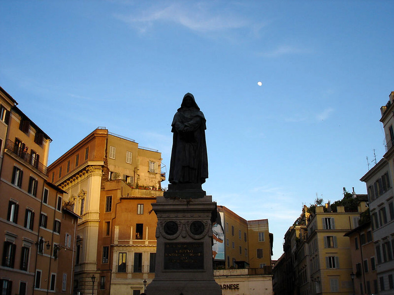 The statue of Giordano Bruno in the place he was executed, Campo de' Fiori, Rome