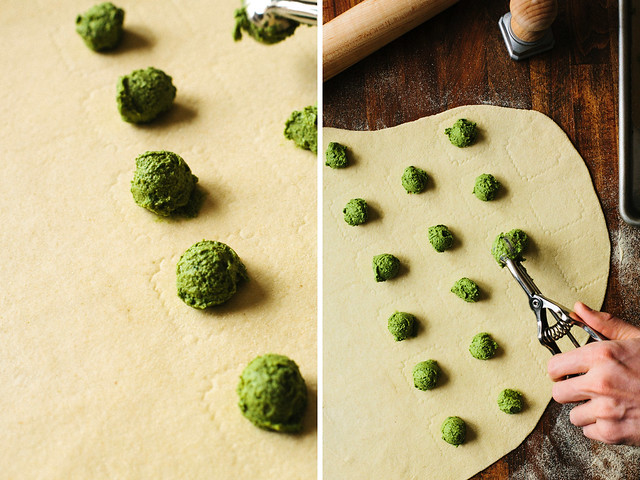 Broccoli + sunflower seed ravioli