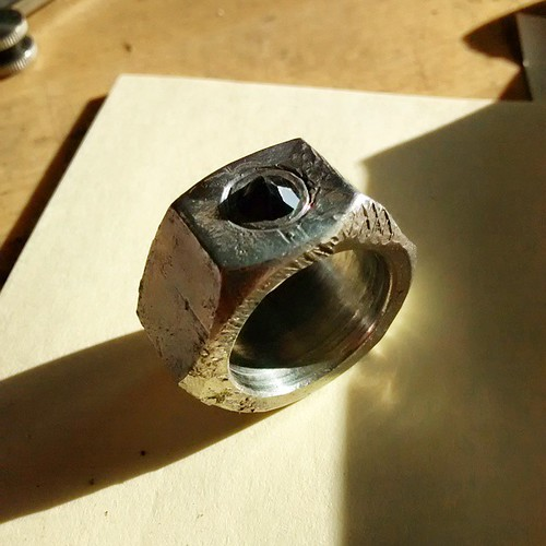 Recycled Nut Ring With Spinel