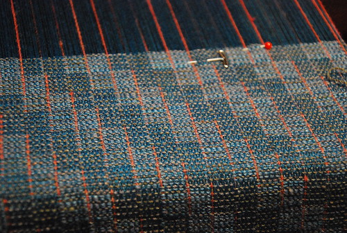 First weaving for the Colour of Water curated guild show irieknit handspun in classic crackle weave
