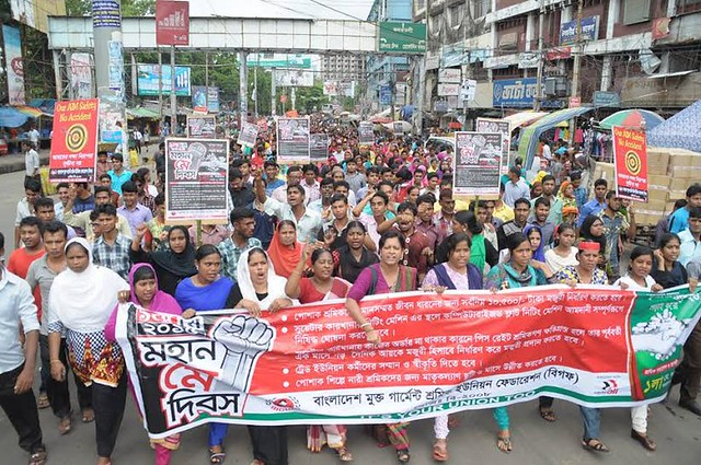 BIGUF unionists march for May Day 2015 in Bangladesh