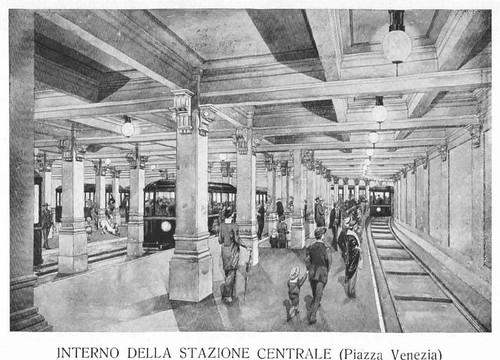 ROMA ARCHEOLOGIA e RESTAURO ARCHITETTURA: (1926). PLANIMETRIA GENERALE - PROGETTO DI TRAMVIA SOTTERRANEA PER ROMA | INTERNO DELLA STAZIONE CENTRALE (Piazza Venezia) (1926).