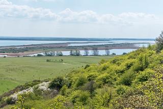 Blick von Hiddensee über Alt- und Neubessin nach Rügen